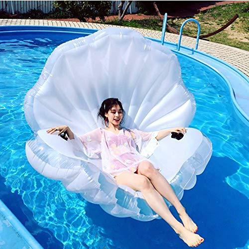 QJJML GlüCkliche Dame Aufblasbare Schale, üBergroßE Aufblasbare WeißE Muschelperle Schwimmendes Bett Im Freien Sommer Beach Party Pool Erwachsene Kinder Wasser Spielzeug