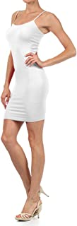 Fashion Mic Women's Solid Color Seamless Cami Slip Dress with Spaghetti Straps (one size, white)
