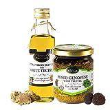 Aceite de trufa blanca con aceite de oliva virgen extra Tuber Magnatum Pico (100 ml) para cocinar, servir, ensaladas y Gourmet Pesto Genovese con Trufa Negra, Queso, Anacardo, Nuez de Cedro (180g)