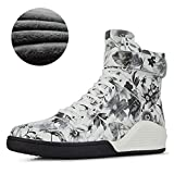 Mens Backpacking Boots Real Leather Print Booties White Fashion Male Casual Hightop Shoe Footwear High Top Tide Hip Hop Boot for Men Tennis Bmt309314 J 11