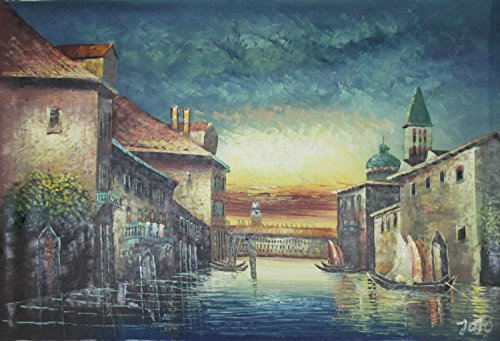 Real Hand Painted Venice Canals at Sunset Italy Italian Scene Canvas Oil Painting for Home Wall Art Decoration, Not a Print/ Giclee/ Poster