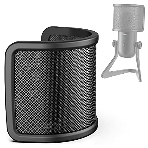 Pop Filter, FIFINE Mic Pop Screen with Metal Mesh, Compact Microphone Pop Shield Windscreen for Recording Studio, Youtube Videos, Streaming, Podcast (Black)