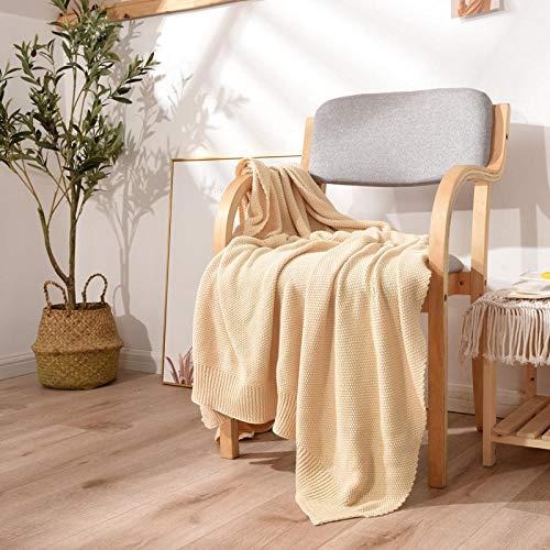 XUMINGLSJ Mantas para Sofa, Mantas para Cama de Franela Reversible, Mantas Ligeras de 100% Microfibra - Fácil De Limpiar - Extra Suave Cálido -Beige_Los 80 * 135cm
