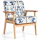 Giantex Mid Century Modern Accent Arm Chair, Comfortable Fabric Armchair w/Rubber Wood, Pretty Pattern, Soft Sponge, Decorative Retro Accent Chair for Living Room, Bedroom, Office (1, Light Grey)