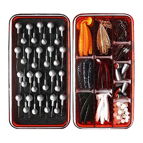 Kehyes Juego de 150 señuelos de pesca con caja y juego de cebos, incluye tachuelas y anzuelos para pesca de agua dulce y salada para principiantes