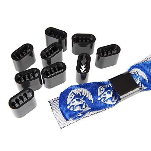 Verschluss Textilband Kunststoff - 10 Stück - Schwarz Flach