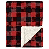 Hudson Baby Unisex Baby Plush Blanket with Sherpa Back, Buffalo Plaid, One Size