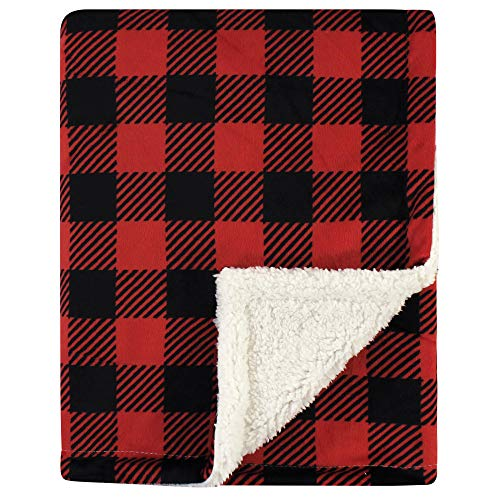 Hudson Baby Unisex Baby Plush Blanket with Sherpa Back, Buffalo Plaid, One Size
