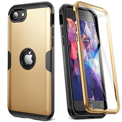 YOUMAKER Funda para iPhone SE, Full Body Rugged Case con Protector de Pantalla Integrado Carcasas Slim Fit a Prueba de Golpes para iPhone SE de 4,7 Pulgadas - Dorada