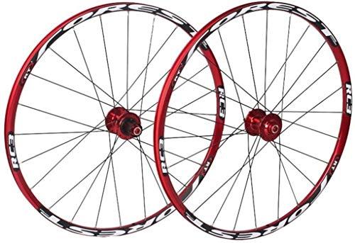 YSHUAI Juego de ruedas para bicicleta de montaña de 27,5 pulgadas, delantera y trasera, llanta de doble pared, rodamientos de 7 palos, liberación rápida, freno de disco de 24 horas, color rojo