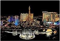 大人のための都市の夜景DIYペイント初心者向けオイルキャンバスアートアクリルリビングホームウォールデコレーション40x50cmフレームレス