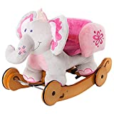Product Image of the labebe - Plush Rocking Horse, Pink Ride Elephant, Stuffed Rocker Toy for Child...