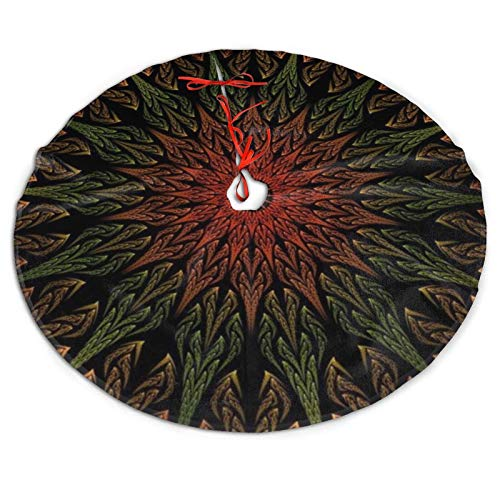 Ridenfs Merry Christmas Tree Skirt Flower Texture Table Top, Large Tree Mat Cover for Xmas Holiday Party Supplies Halloween Decoration Ornaments 30/36/48 Inch