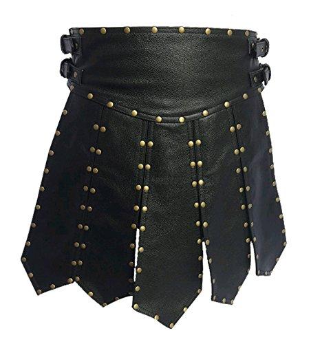 Mens Sexy Real Black Leather Heavy Duty Gladiator Kilt LARP - (K6) W32 X 20'