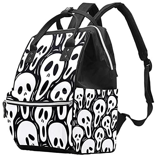 Yuelai Borsa per pannolini Zaino Zaino per laptop Zaino da viaggio per donna, Halloween Skull Art White