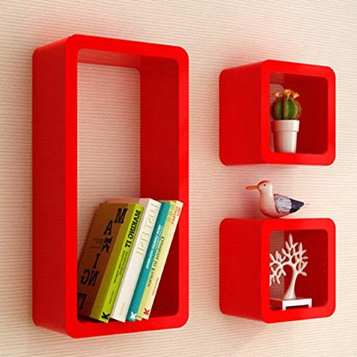 Shelf HLF- Estante de Almacenamiento de Estante de celosía Creativo de Pared, Estante de decoración de Dormitorio de Sala de Estar, Rectangular de Tres Piezas