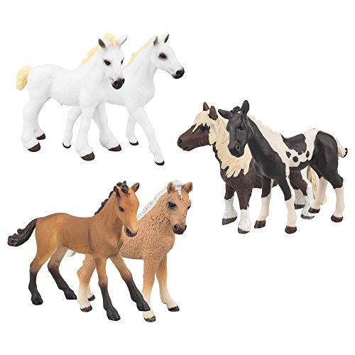TOYMANY 馬フィギュア  馬置物 馬モデル 動物フィギュアセット リアルな動物フィギュア ホース 6PCS入 2.5-4Inch  ABSプラスチック製 子供おもちゃ 知育玩具 子供誕生日ギフト 保育園教具