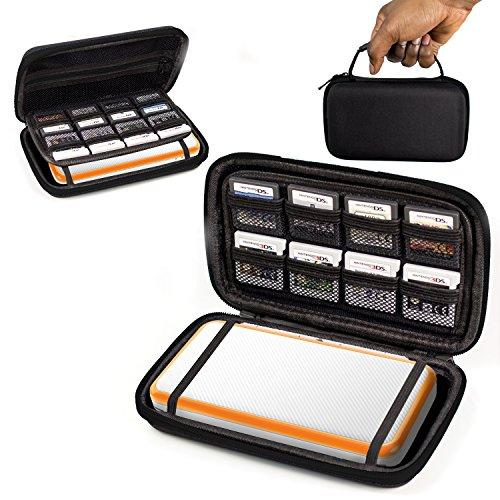 Orzly 2DSXL Case, Tasche für das Neu Nintendo 2DS XL - Aufbewahrungstasche / - Hartschalen Case/Cover/Hülle/Schutzhülle für die New Nintendo 2DS XL Konsole & Accesoires - SCHWARZ auf Schwarz