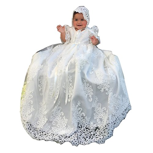 dressvip Spitze Satin Weiß Elfenbein Taufkleid mit Hut Für Baby Mädchen 0-24 Monat (9-12Monat, Weiß)