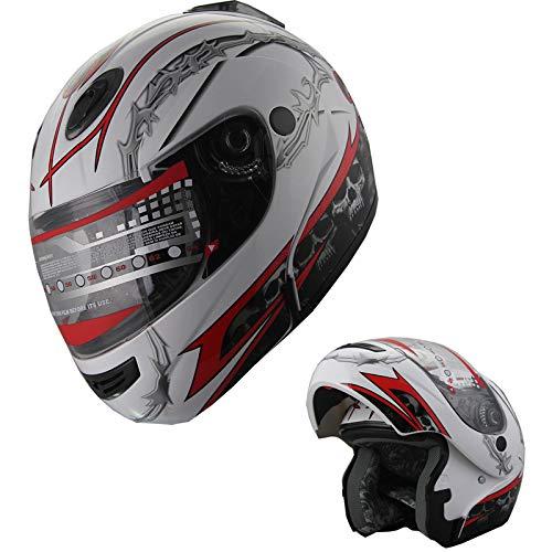 MRC Motorcycle Helmet Modular Flip up Full Face DOT Helmet White/Red (M)