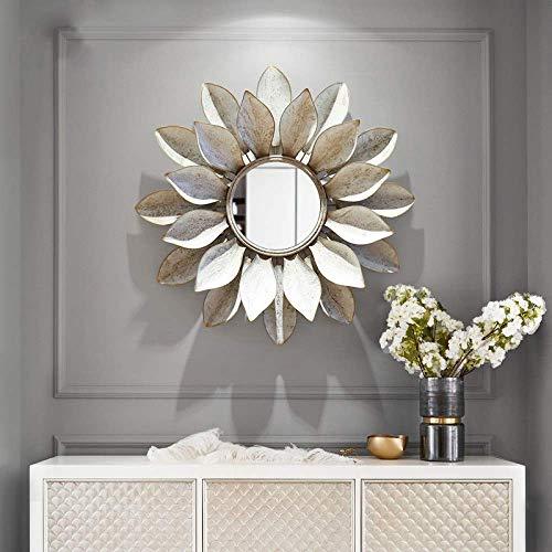 Cakunmik Decoración de Espejo de Flor de Sol, Espejo de Pared Grande Decoración de Pared Arte de la Pared Hierro Forjado Espejo Decorativo Espejo Sala de Estar Porche Ropa Tienda Fondo Pared Colgante