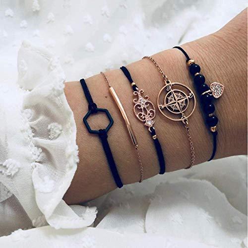 ZAJIWF Damen Armband, Persönlichkeit Kompass Armband Schwarz Sechseck Diamant Armband Perlen Anhänger 5-Teiliges Set