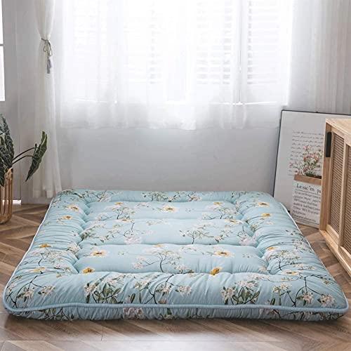 Colchón de Piso Coreano Floral Antiguo Colchón de futón japonés, Colchón de Tatami Plegable Grueso, Colchón de Camping Enrollable, Colchón y colchón de sofá, (Tamaño: 120 * 200 CM, Color: C)