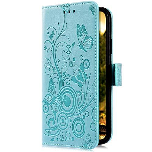Uposao Kompatibel mit Samsung Galaxy J7 2017 Handyhülle Hülle Flipcase Schmetterling Blumen Muster Flip Wallet Schutzhülle Bookstyle Leder Tasche Klapphülle Case Magnet Kartenfach,Grün