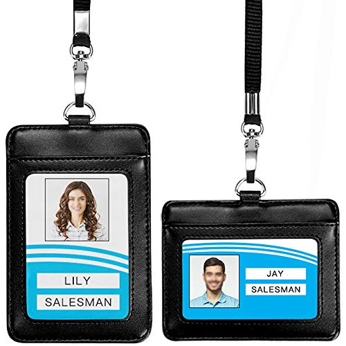 Leather ID Badge Holder, Vertical & Horizontal Leather ID Badge Holder, 1 Clear ID Window, 1 Credit Card Slot a Detachable Neck Lanyard Strap for Offices ID, School ID, Driver Licence (Black)