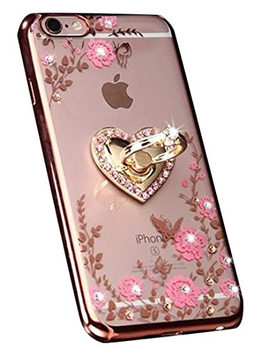 Price comparison product image iPhone 7 Plus Floral Crystal TPU Case-Lozeguyc Soft Slim Bling Plating Rubber Cover for iPhone 7 Plus 5.5 Inch with Rhinestone Diamond and Detachable 360 Ring Stand-Rose Gold and Pink