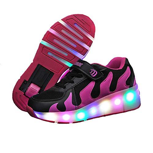 MNVOA Unisex Kinder Mode LED Schuhe mit Rollen Drucktaste Einstellbare Vibration Leuchten Skateboardschuhe Outdoor Gymnastik Turnschuhe Für Junge Mädchen,Rose,34EU
