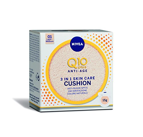 Nivea Q10 Plus Anti-Age 3 in 1 Skin Care Cushion Chiaro, Colore Naturale 01 Light-Medium