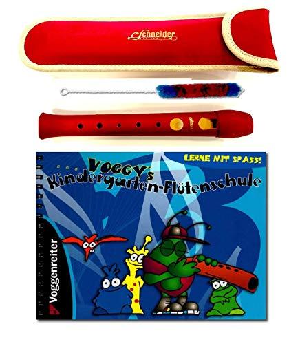 Juego de flauta de jardín para niños, flauta dulce (rojo) con bolsa y escuela de flautas de Voggy's para niños a partir de 4 años