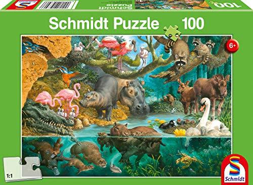Schmidt Spiele- Puzzle da 100 Pezzi per Bambini con Famiglie di Animali sulla Riva, Multicolore, 56306