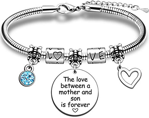 Mum Gifts Mother Bracelet from Son Birthday Mother's Day Gift The Love Between A Mother and Son is Forever