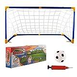 Objectifs portables Football Nets de football Ensemble avec objectifs Net Pompe à ballon d'extérieur Jeu intérieur Jouet Enfant Cadeau d'anniversaire portable enfants football (Couleur: Comme montré,