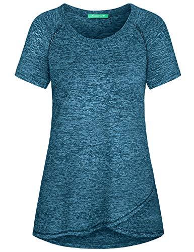 Kimmery Crew Neck T Shirt Women, Fitness Sports Short Sleeve Fashion T-Shirts Lightweighted Nice Wear Blouse Cool Dri Summer Basic Gym Slimming Training Shirts Classic Heathered Tunic Blue XX Large
