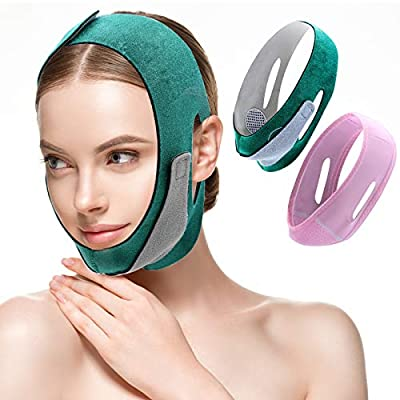 Face Slimming Strap V Line Mask 2pc Women Eliminates Double Chin Reducer Sagging, Pain Free Face Lifting Strap, Face Shaper Band (Green,Pink) from POPMISOLER