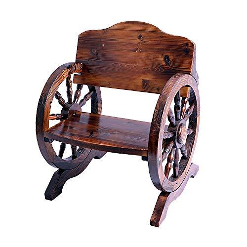 LXLH Gartenbank aus Holz, Gartenbanklatten Gartenmöbel Gartenmöbel aus antikem Massivholz Patio Gartenbank für Kinder Doppel-Korrosionsschutz-Rollstuhl aus massivem Holz mit Rückenlehne und Armle