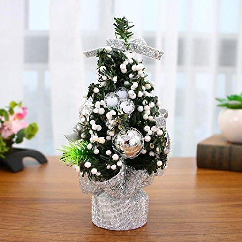 Xshuai Arbre de Noël Ornement Chambre à coucher pour bureau maison Fournitures de bureau jouet poupée Décoration Cadeau pour Vacances de Noël Fête de mariage Décor, Silver, Length: 20cm