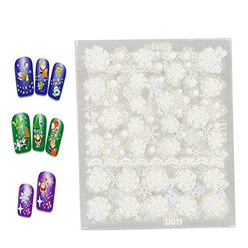Adesivi per nail art, 12 pezzi Adesivo per nail art a tema natalizio Strumenti per la decorazione di decalcomanie fai-da-te per unghie(Tipo di fiocco di neve di Natale)