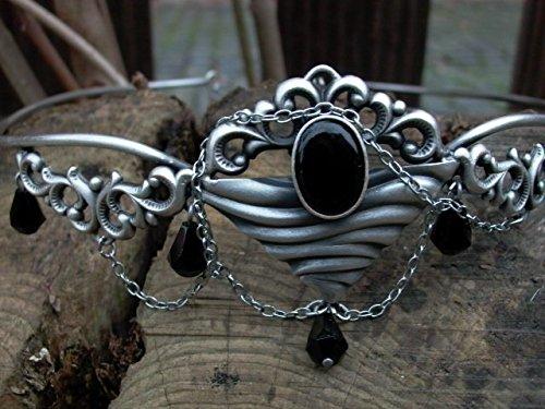 Dark Dreams Gothic Mittelalter Fantasy Larp Diadem Stirnschmuck Stirnreif Tiara Mawia, Farbe:schwarz - 4