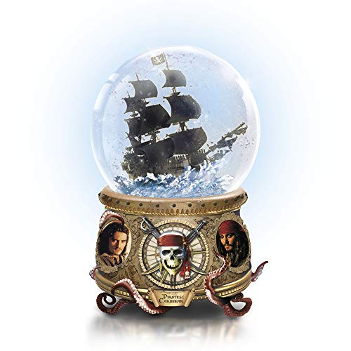 The Bradford Exchange Disney Pirates Of The Caribbean Glitter Globe –Handcrafted Black Pearl Sculpture, Jack Sparrow Compass & Antiqued Golden-Finish Base With Kraken's Tentacles. Exclusive To