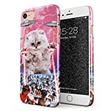 Glitbit Compatible with iPhone 7/8 / SE 2020 Case Laser Cat Alien UFO Space Cats Kitten Galaxy Cosmic Trippy Kitty Thin Design Durable Hard Shell Plastic Protective Case Cover
