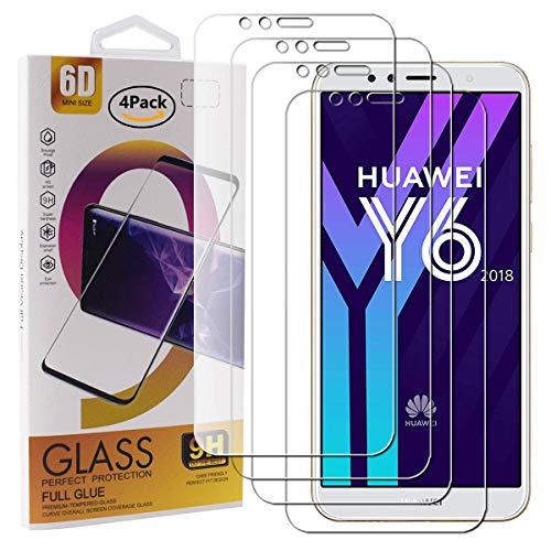 Guran 4 Pezzi Pellicola Protettiva in Vetro Temperato per Huawei Y6 2018 / Honor 7A / 7A PRO Smartphone 9H Durezza Anti-Impronte HD Alta Trasparenza Pellicola