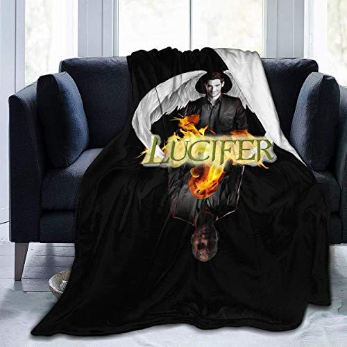 Lucifer - Manta de microfibra de forro polar ultra suave y acogedora, ligera, para el hogar, manta de viaje, manta ligera de 50 x 60 pulgadas