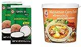 Paquete de 2 Leche de Coco AROY-D [2x 250ml] Cocosmilc - Leche de Coco + Pasta de Curry de Pollo Matsaman 1x400g