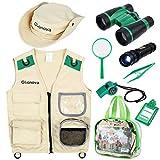 Glonova Juguetes de Explorador para Niños, Kit de Disfraz de Aventurero con Accesorios de Safari Chaleco Lavable, Binoculares, Lupa, Sombrero, Juego de rol de Explorador para Infantiles