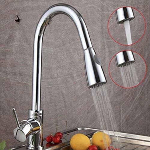 GDEVNSL Grifos mezcladores de Fregadero de Cocina Modernos cromados con caño Giratorio de 360 Grados, Grifo abatible para Lavabo Doble.