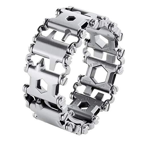 QIUXIANG-EU Multifunktionswerkzeug Armband Profil Armband Edelstahl Outdoor Bolt Driver Tools Kit Reisefreundliches tragbares Multitool-Werkzeug